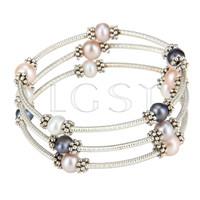 Multi strand Colorful round pearl adjustable bracelet