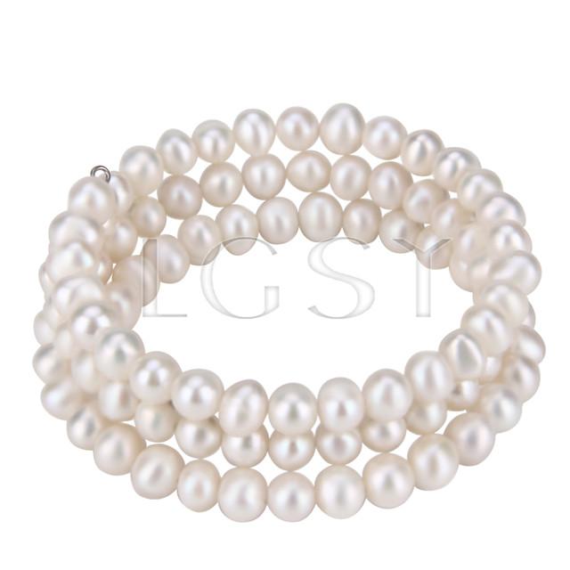 Multi strand White round pearl adjustable bracelet