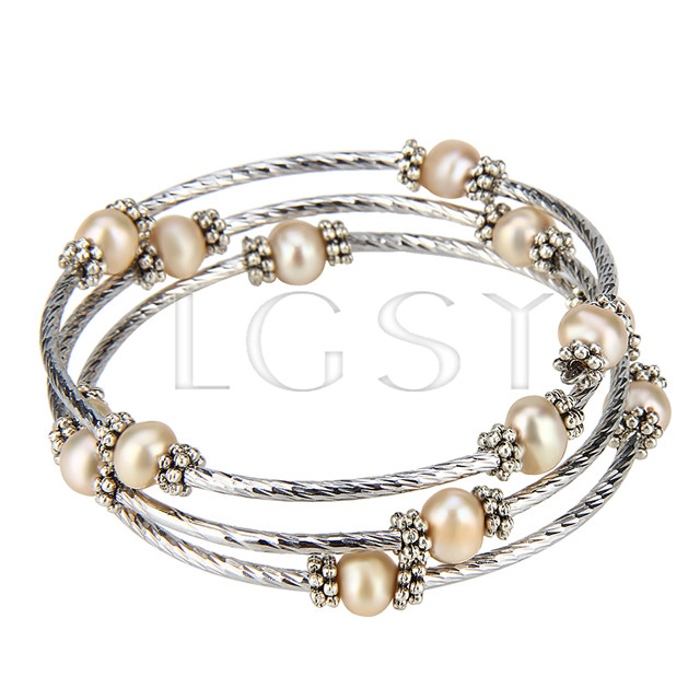 Multi strand Copper round pearl adjustable bracelet
