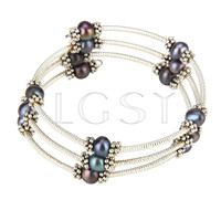 Multi strand Purple round pearl adjustable bracelet