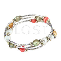 Multi strand colorful pearls adjustable bracelet