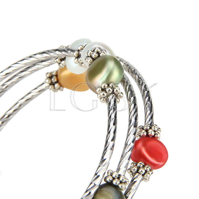 Multi strand colorful pearls adjustable bracelet