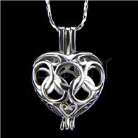 Ten pieces Olympic Rings Heart Shape Silver Toned Copper Cage Pendant