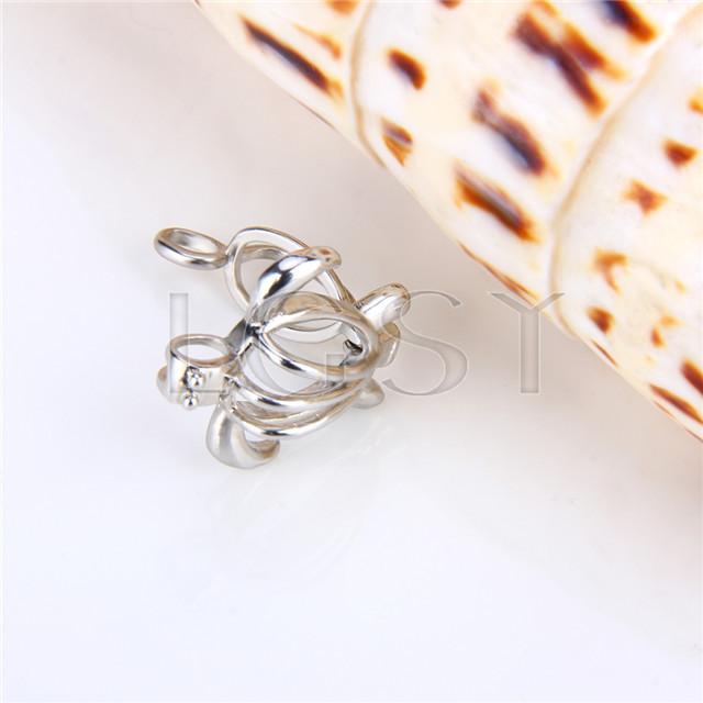 Ten pieces Turtle Shape Silver Toned Copper Cage Pendant
