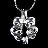 Ten pieces Ribbon Shape Silver Toned Copper Cage Pendant