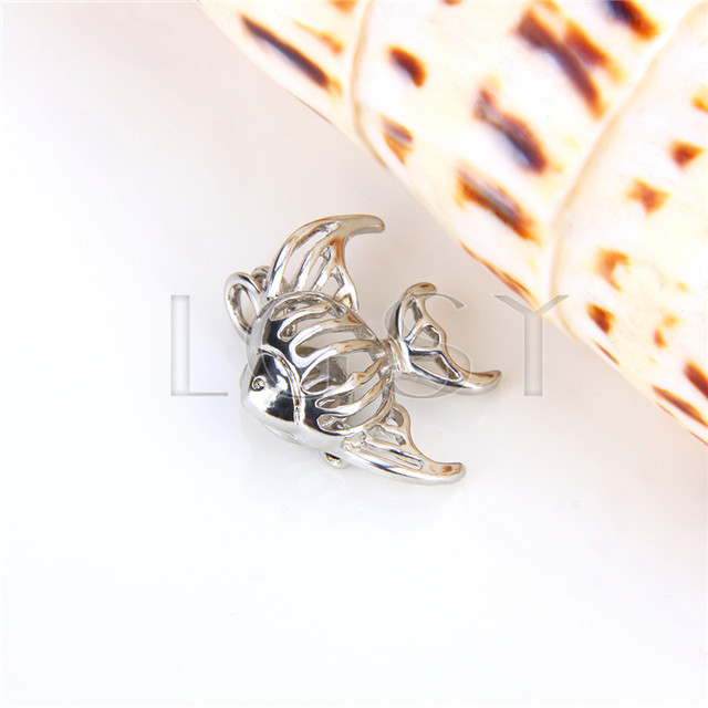 Ten pieces Fish Shape Silver Toned Copper Cage Pendant