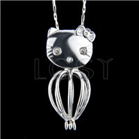 Ten pieces Hello Kitty Heart Shape Silver Toned Copper Cage Pendant