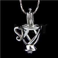 Ten pieces Cup Shape Silver Toned Copper Cage Pendant