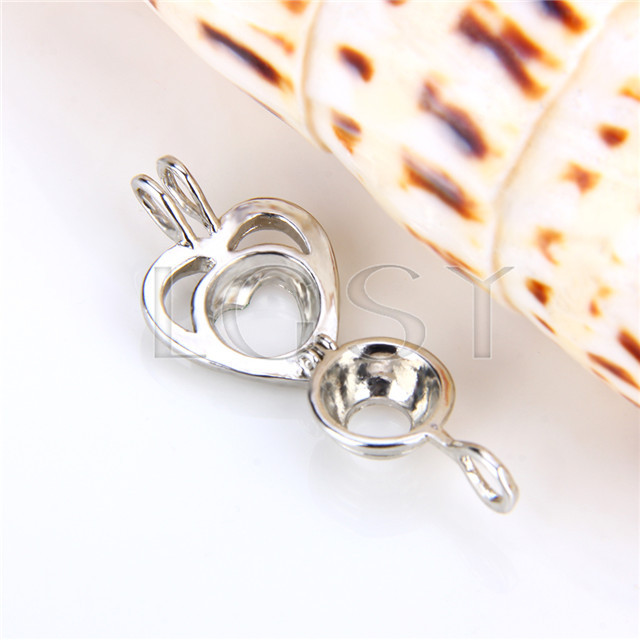 Ten pieces Double Heart Shape Silver Toned Copper Cage Pendant