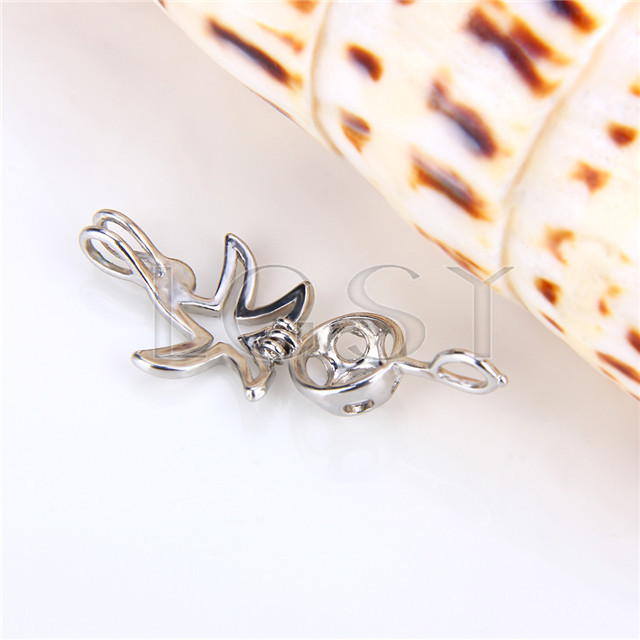 Ten pieces Starfish Shape Silver Toned Copper Cage Pendant