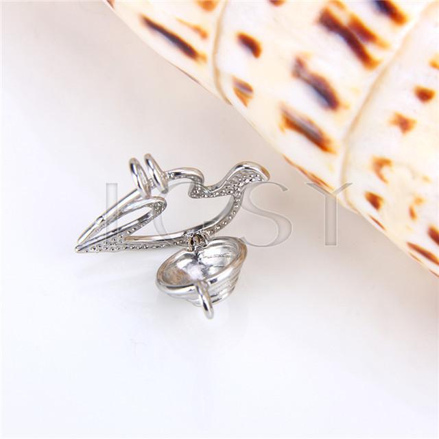Ten pieces Bird Shape Silver Toned Copper Cage Pendant