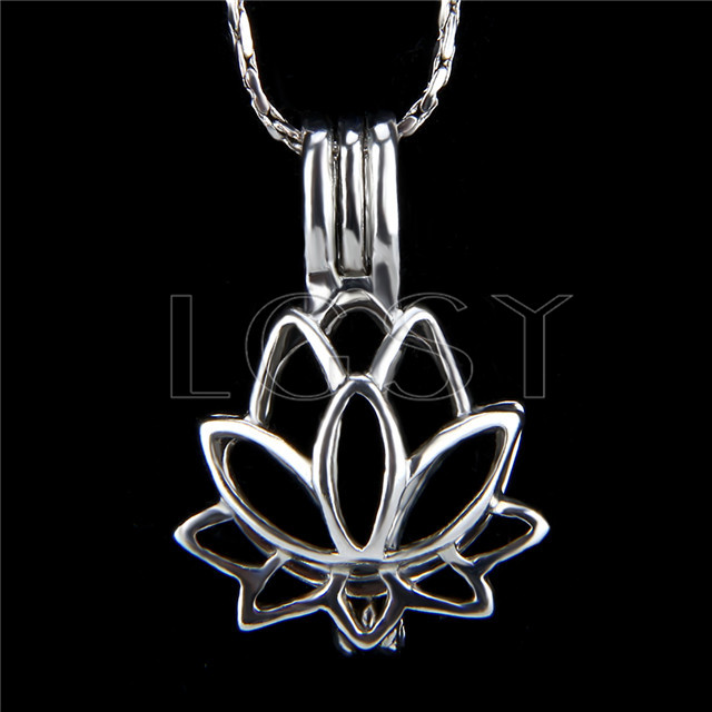 Ten Pieces Lotus Flower Shape Silver Toned Copper Cage Pendant