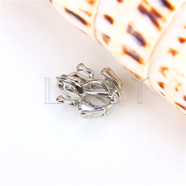 Ten pieces Frog Shape Silver Toned Copper Cage Pendant