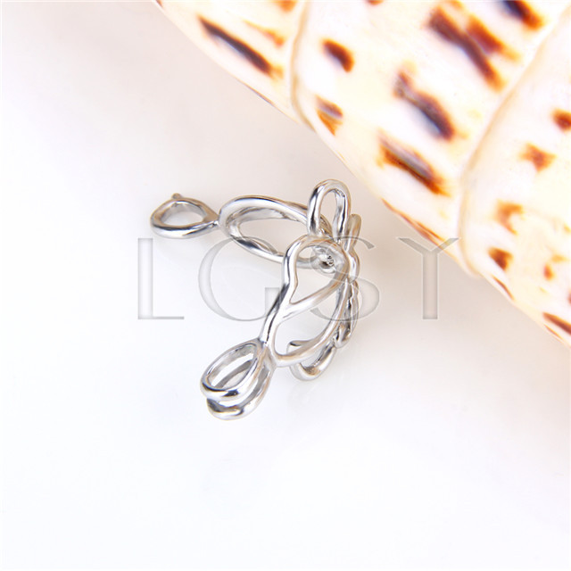 Ten pieces Butterfly Shape Silver Toned Copper Cage Pendant