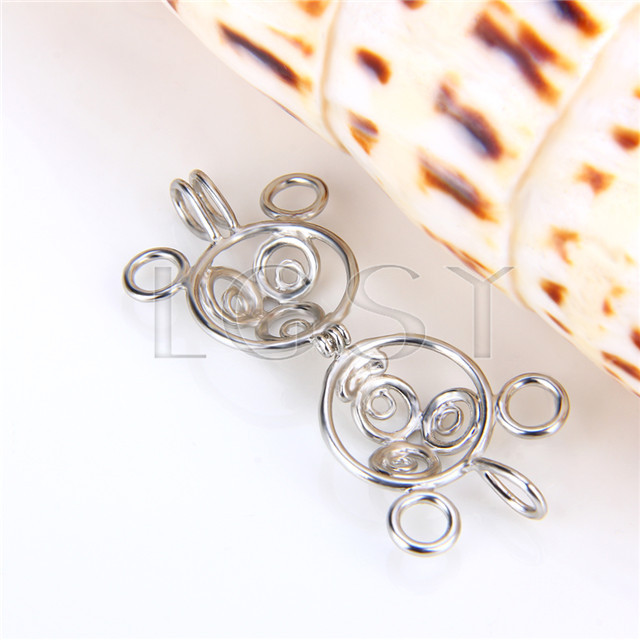 Ten pieces Mickey Mouse Shape Silver Toned Copper Cage Pendant