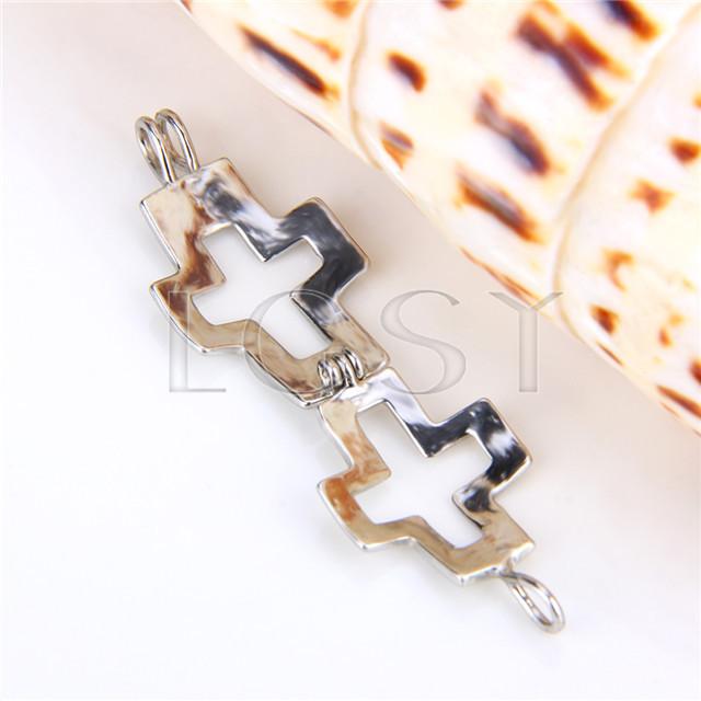 Ten pieces Cross Shape Silver Toned Copper Cage Pendant