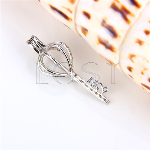 Ten pieces Key Heart Silver Toned Copper Cage Pendant