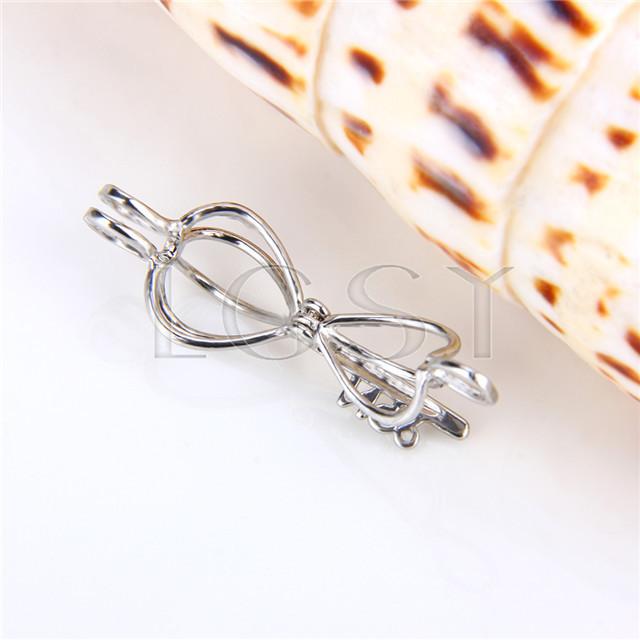 Ten pieces Key Heart Silver Toned Copper Cage Pendant