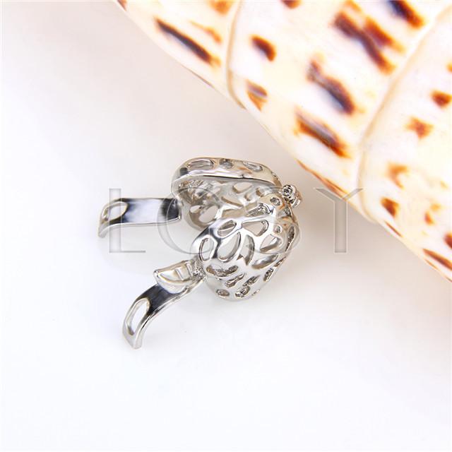 Ten pieces Strawberry Shape Silver Toned Copper Cage Pendant