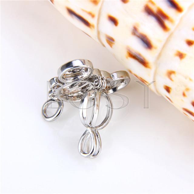 Ten pieces Carriage Shape Silver Toned Copper Cage Pendant