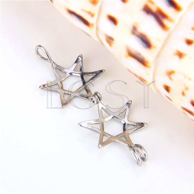 Ten pieces Star Shape Silver Toned Copper Cage Pendant