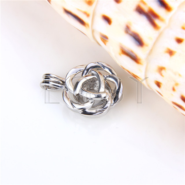 Ten pieces Rose Flower Shape Silver Toned Copper Cage Pendant