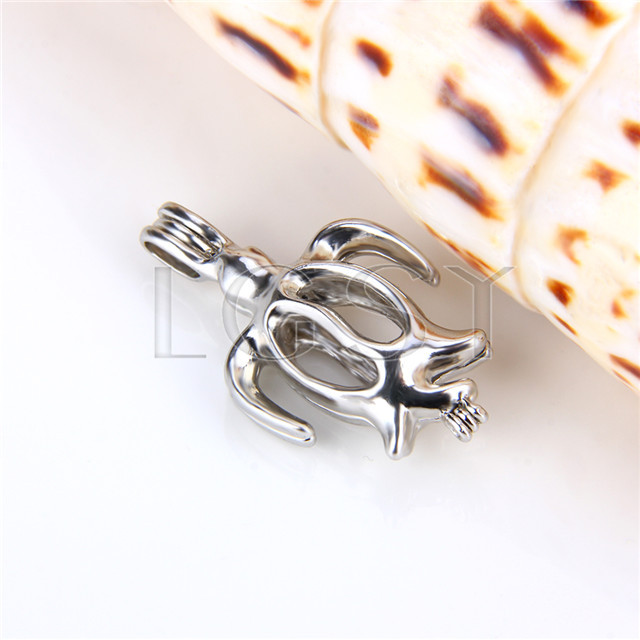 Ten pieces Turtle Shape Silver Toned Copper Cage Pendant