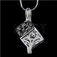 Ten pieces Cube Shape Silver Toned Copper Cage Pendant