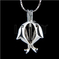 Ten pieces Double Dolphin Shape Silver Toned Copper Cage Pendant