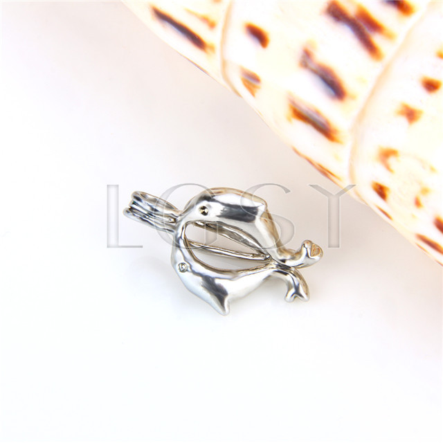 Ten pieces Double Dolphin Shape Silver Toned Copper Cage Pendant