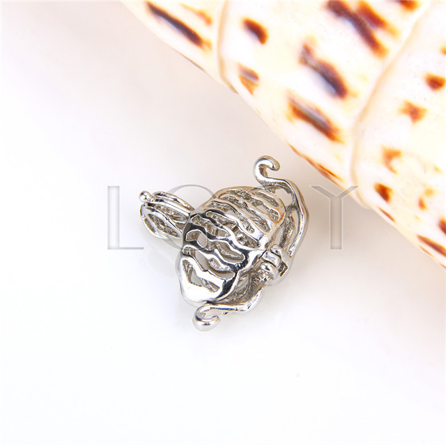 Ten pieces Flower Shape Silver Toned Copper Cage Pendant
