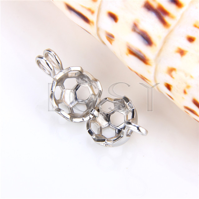Ten pieces Ball Shape Silver Toned Copper Cage Pendant