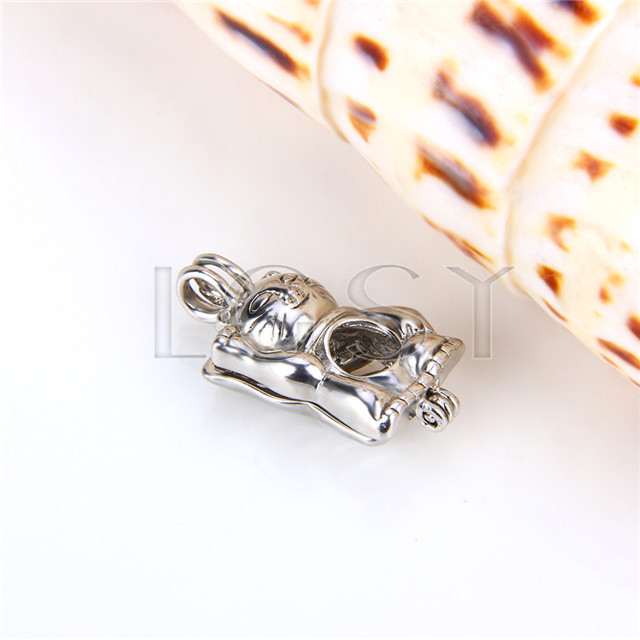 Ten pieces Maneki Neko Shape Silver Toned Copper Cage Pendant