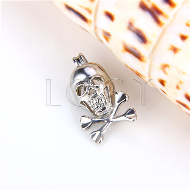 Ten pieces Skull Shape Silver Toned Copper Cage Pendant