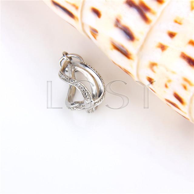Ten pieces Water Drop Shape Silver Toned Copper Cage Pendant