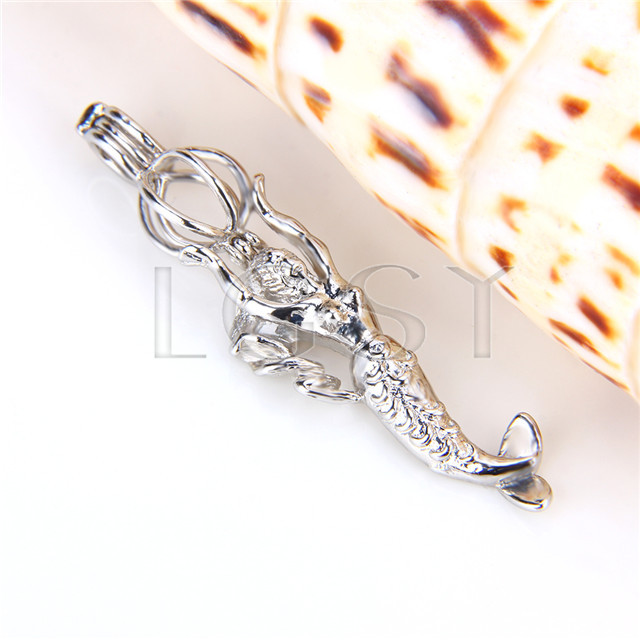 Ten pieces Mermaid Shape Silver Toned Copper Cage Pendant