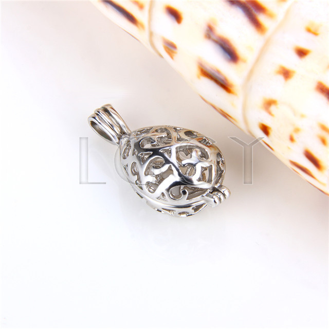 Ten pieces Egg Shape Silver Toned Copper Cage Pendant