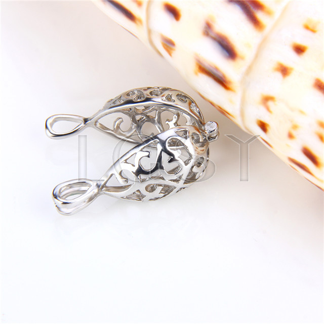 Ten pieces Egg Shape Silver Toned Copper Cage Pendant