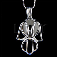 Ten pieces Robot Shape Silver Toned Copper Cage Pendant