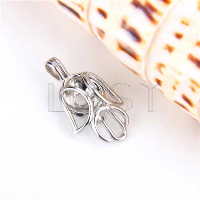 Ten pieces Robot Shape Silver Toned Copper Cage Pendant