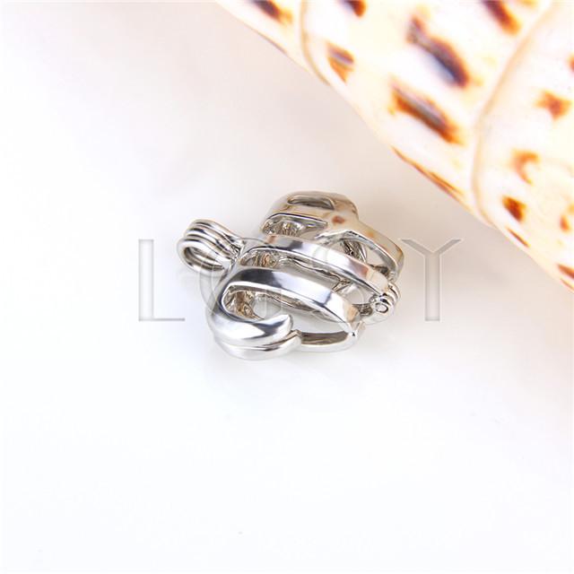 Ten pieces Aquarius Shape Silver Toned Copper Cage Pendant