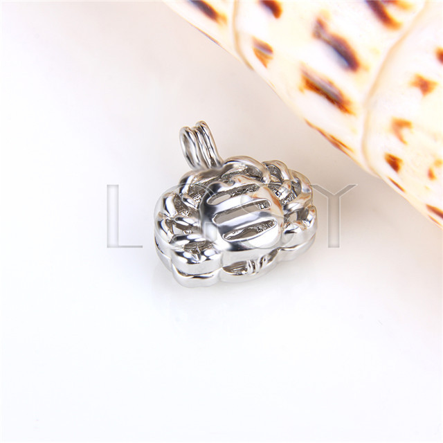 Ten pieces Cancer Shape Silver Toned Copper Cage Pendant