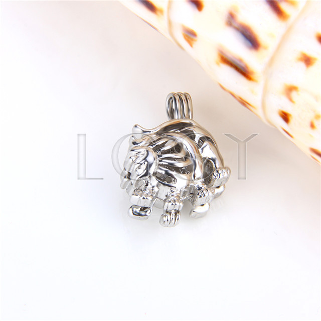Ten pieces Leo Shape Silver Toned Copper Cage Pendant