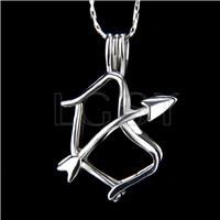 Ten pieces Sagittarius Shape Silver Toned Copper Cage Pendant