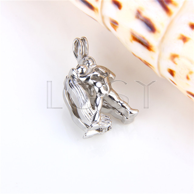Ten pieces Virgo Shape Silver Toned Copper Cage Pendant