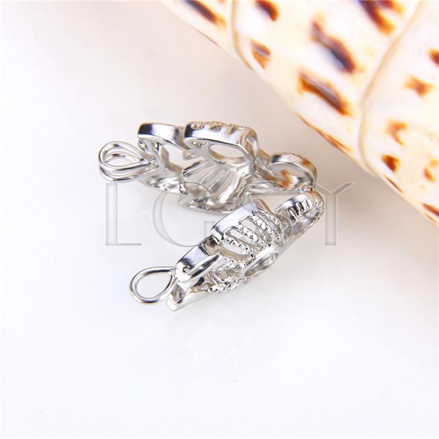 Ten pieces Scopio Shape Silver Toned Copper Cage Pendant