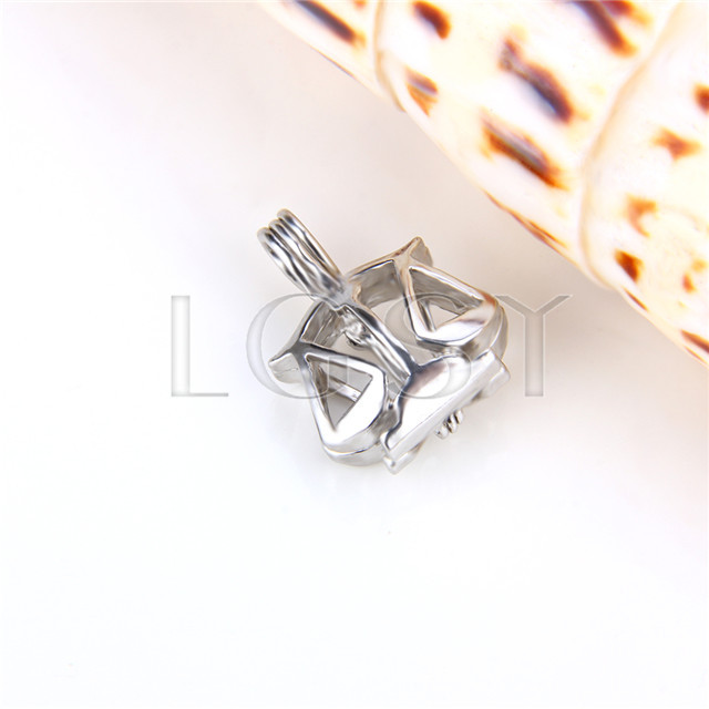Ten pieces Libra Shape Silver Toned Copper Cage Pendant