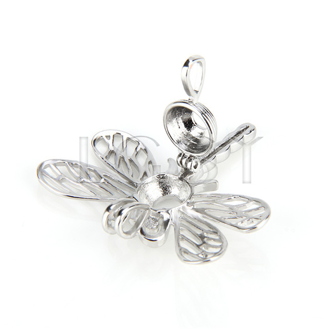 Ten pieces Dragonfly Shape Silver Toned Copper Cage Pendant