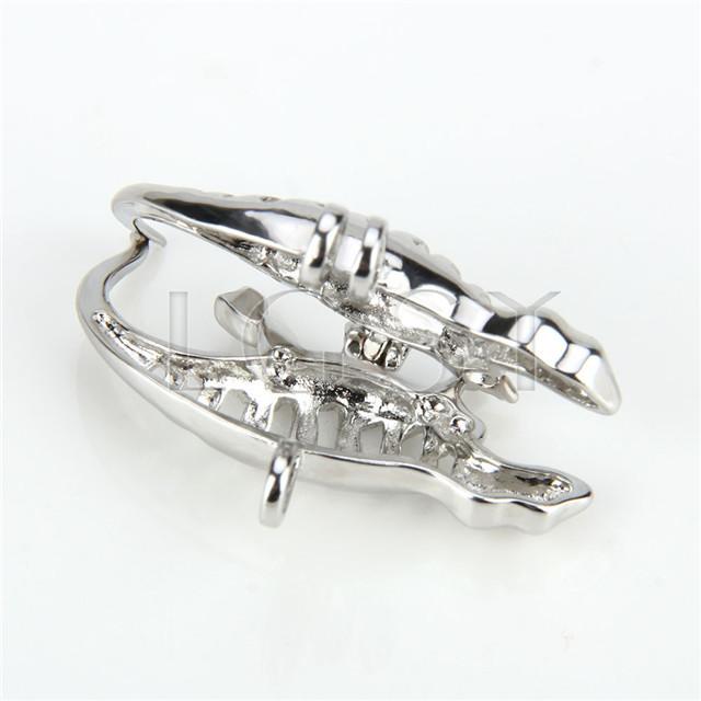 Ten pieces lizard Shape Silver Toned Copper Cage Pendant