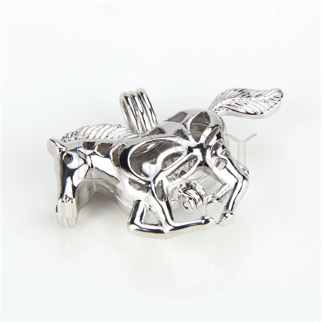 Ten pieces Horse Shape Silver Toned Copper Cage Pendant